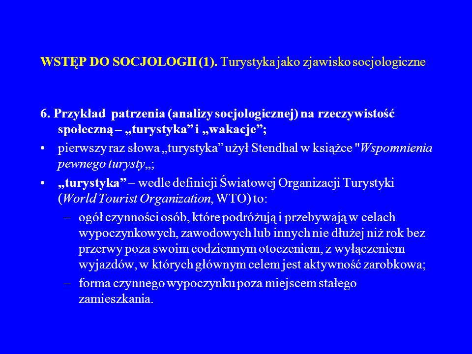 WSTĘP DO SOCJOLOGII (1). Turystyka jako zjawisko socjologiczne 6. Przykład patrzenia (analizy socjologicznej) na rzeczywistość społeczną – turystyka i