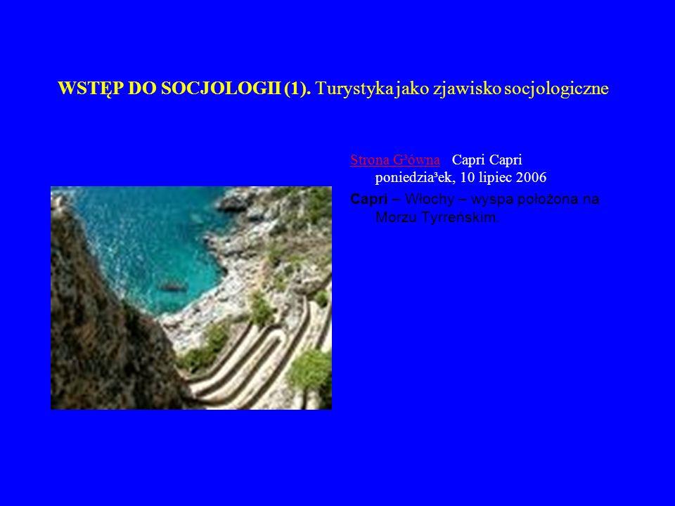 WSTĘP DO SOCJOLOGII (1). Turystyka jako zjawisko socjologiczne Strona G³ównaStrona G³ówna Capri Capri poniedzia³ek, 10 lipiec 2006 Capri – Włochy – wy
