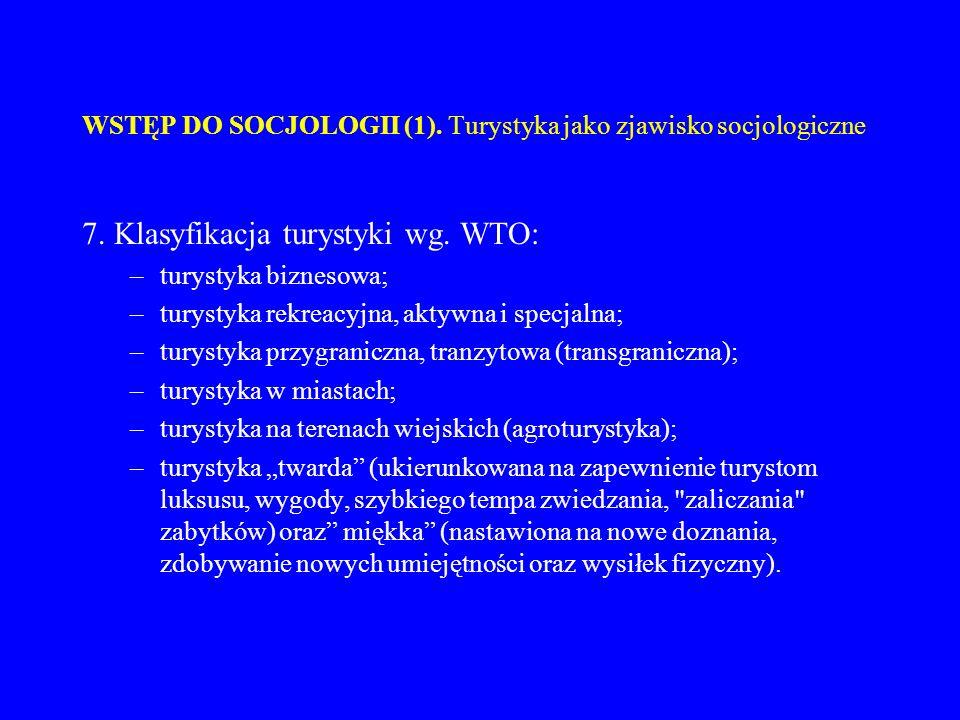 WSTĘP DO SOCJOLOGII (1). Turystyka jako zjawisko socjologiczne 7. Klasyfikacja turystyki wg. WTO: –turystyka biznesowa; –turystyka rekreacyjna, aktywn