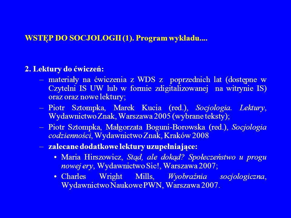 WSTĘP DO SOCJOLOGII (1). Program wykładu.... 2. Lektury do ćwiczeń: –materiały na ćwiczenia z WDS z poprzednich lat (dostępne w Czytelni IS UW lub w f
