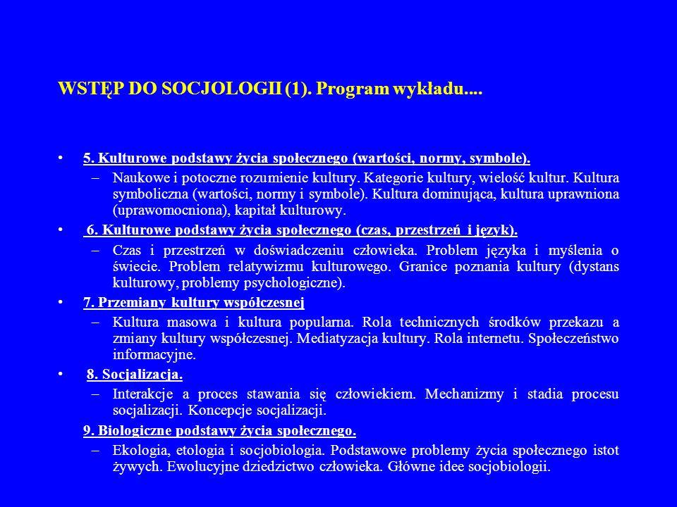 WSTĘP DO SOCJOLOGII (1). Program wykładu.... 5. Kulturowe podstawy życia społecznego (wartości, normy, symbole). –Naukowe i potoczne rozumienie kultur