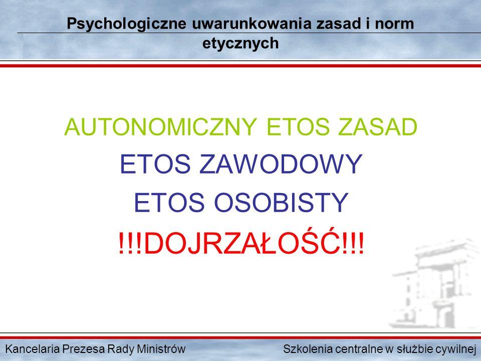 Kancelaria Prezesa Rady Ministrów Szkolenia centralne w służbie cywilnej Psychologiczne uwarunkowania zasad i norm etycznych AUTONOMICZNY ETOS ZASAD E