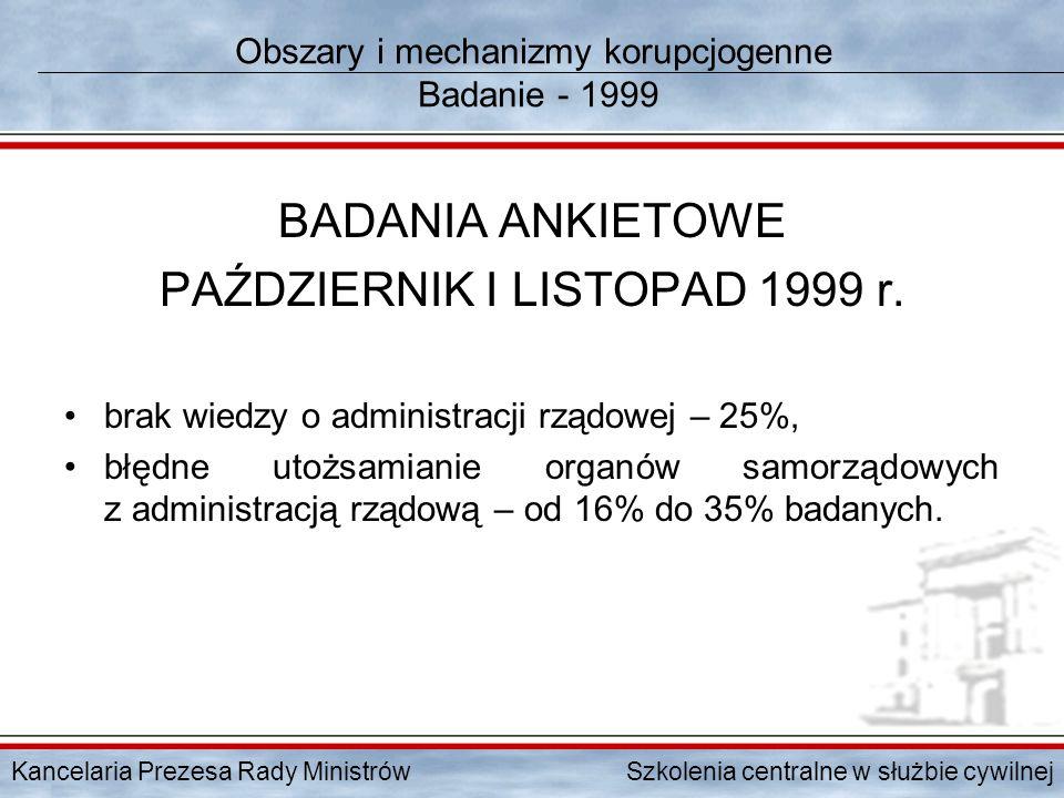 Kancelaria Prezesa Rady Ministrów Szkolenia centralne w służbie cywilnej Obszary i mechanizmy korupcjogenne Badanie - 1999 BADANIA ANKIETOWE PAŹDZIERN
