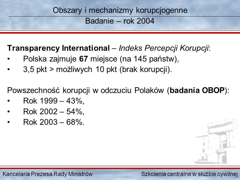 Kancelaria Prezesa Rady Ministrów Szkolenia centralne w służbie cywilnej Obszary i mechanizmy korupcjogenne Badanie – rok 2004 Transparency Internatio