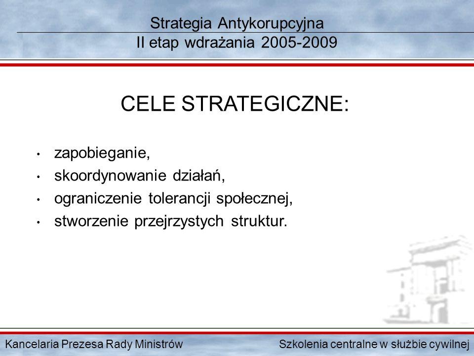 Kancelaria Prezesa Rady Ministrów Szkolenia centralne w służbie cywilnej Strategia Antykorupcyjna II etap wdrażania 2005-2009 CELE STRATEGICZNE: zapob