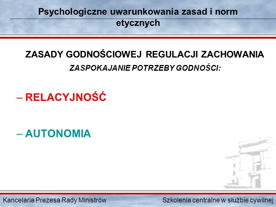 Kancelaria Prezesa Rady Ministrów Szkolenia centralne w służbie cywilnej Psychologiczne uwarunkowania zasad i norm etycznych ZASADY GODNOŚCIOWEJ REGUL
