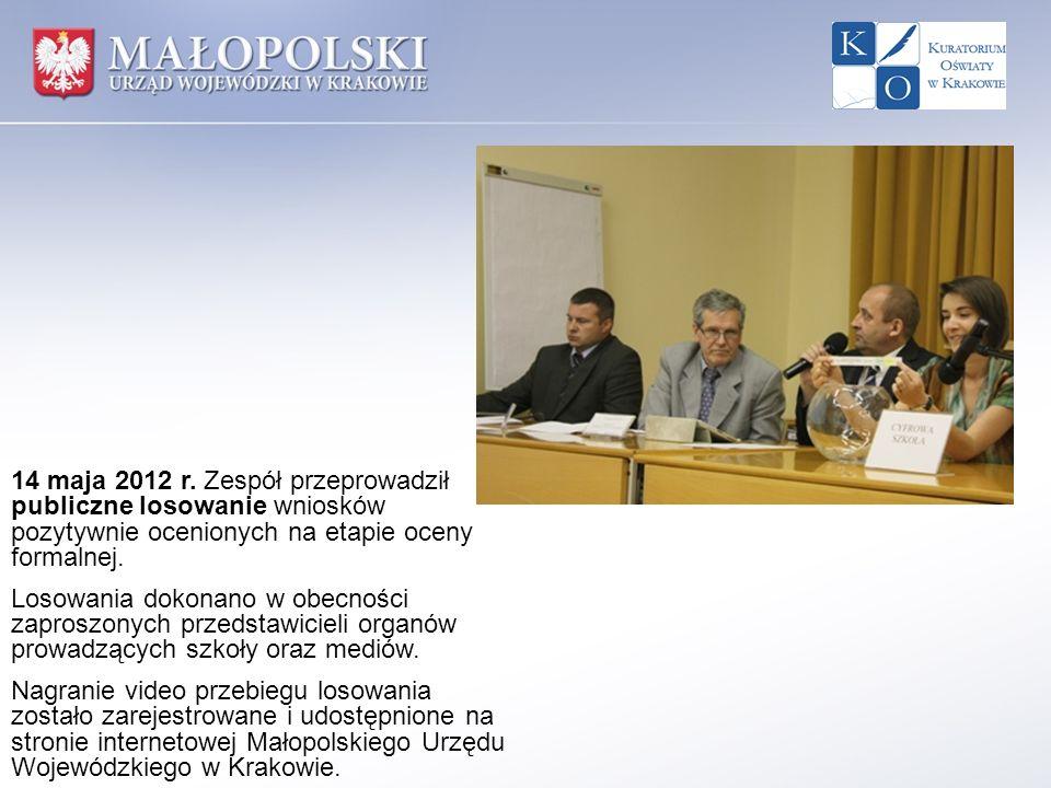 14 maja 2012 r. Zespół przeprowadził publiczne losowanie wniosków pozytywnie ocenionych na etapie oceny formalnej. Losowania dokonano w obecności zapr