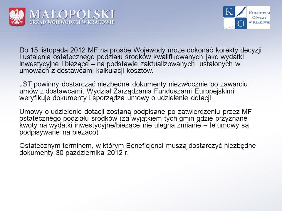 Do 15 listopada 2012 MF na prośbę Wojewody może dokonać korekty decyzji i ustalenia ostatecznego podziału środków kwalifikowanych jako wydatki inwesty