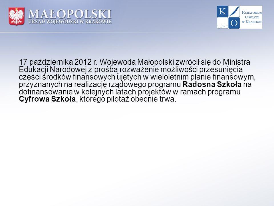 17 października 2012 r. Wojewoda Małopolski zwrócił się do Ministra Edukacji Narodowej z prośbą rozważenie możliwości przesunięcia części środków fina
