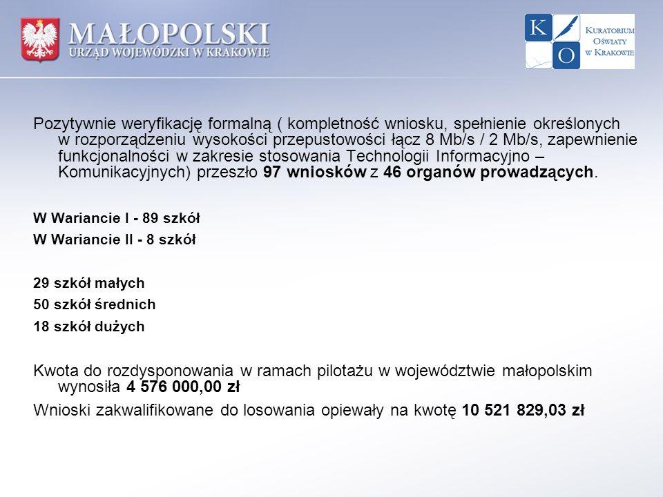 Pozytywnie weryfikację formalną ( kompletność wniosku, spełnienie określonych w rozporządzeniu wysokości przepustowości łącz 8 Mb/s / 2 Mb/s, zapewnie