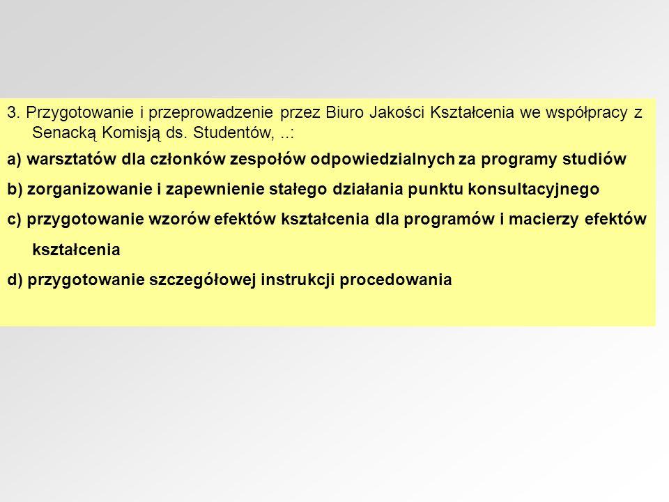 3. Przygotowanie i przeprowadzenie przez Biuro Jakości Kształcenia we współpracy z Senacką Komisją ds. Studentów,..: a) warsztatów dla członków zespoł