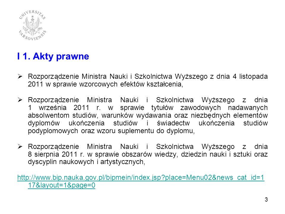 I 1. Akty prawne Rozporządzenie Ministra Nauki i Szkolnictwa Wyższego z dnia 4 listopada 2011 w sprawie wzorcowych efektów kształcenia, Rozporządzenie