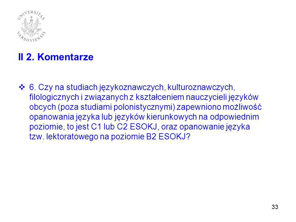 II 2. Komentarze 6. Czy na studiach językoznawczych, kulturoznawczych, filologicznych i związanych z kształceniem nauczycieli języków obcych (poza stu