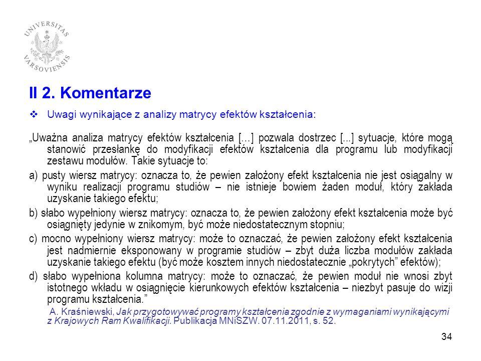 II 2. Komentarze Uwagi wynikające z analizy matrycy efektów kształcenia: Uważna analiza matrycy efektów kształcenia […] pozwala dostrzec [...] sytuacj