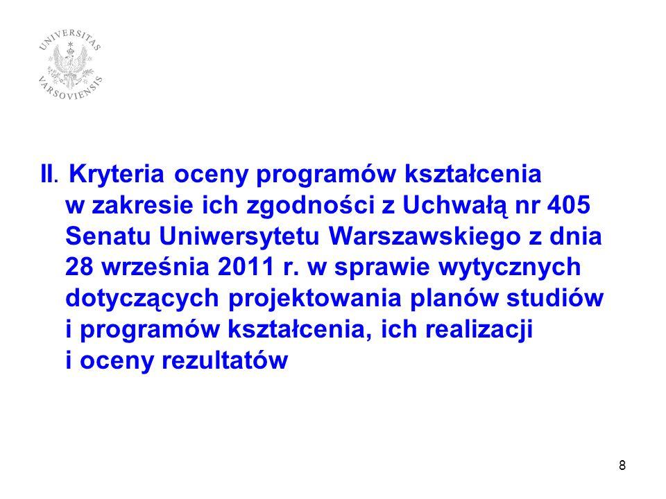 II. Kryteria oceny programów kształcenia w zakresie ich zgodności z Uchwałą nr 405 Senatu Uniwersytetu Warszawskiego z dnia 28 września 2011 r. w spra