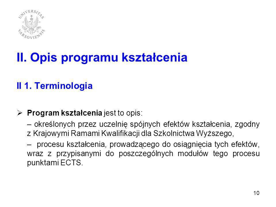 II. Opis programu kształcenia II 1. Terminologia Program kształcenia jest to opis: – określonych przez uczelnię spójnych efektów kształcenia, zgodny z