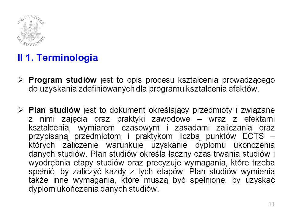 II 1. Terminologia Program studiów jest to opis procesu kształcenia prowadzącego do uzyskania zdefiniowanych dla programu kształcenia efektów. Plan st