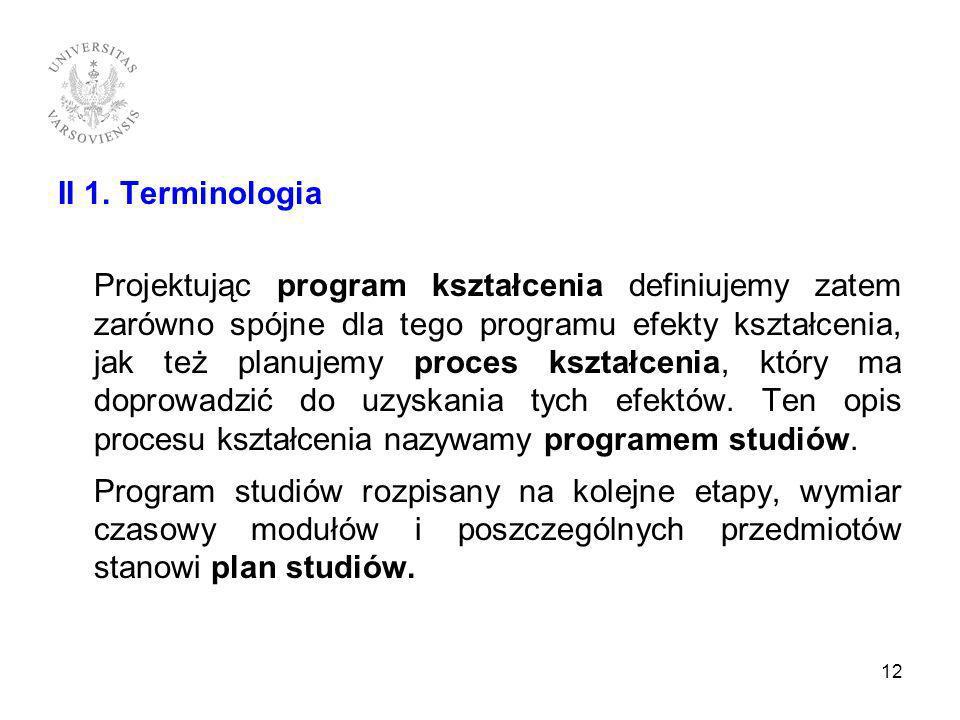 II 1. Terminologia Projektując program kształcenia definiujemy zatem zarówno spójne dla tego programu efekty kształcenia, jak też planujemy proces ksz