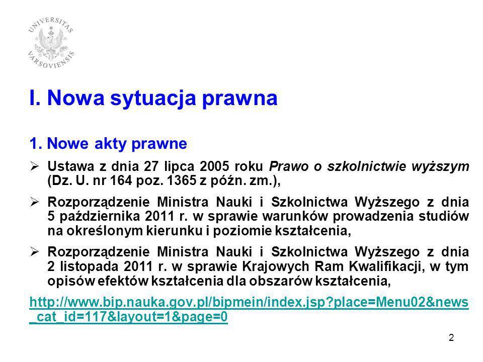 I. Nowa sytuacja prawna 1. Nowe akty prawne Ustawa z dnia 27 lipca 2005 roku Prawo o szkolnictwie wyższym (Dz. U. nr 164 poz. 1365 z późn. zm.), Rozpo