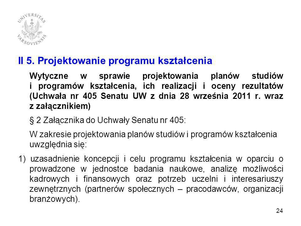 II 5. Projektowanie programu kształcenia Wytyczne w sprawie projektowania planów studiów i programów kształcenia, ich realizacji i oceny rezultatów (U