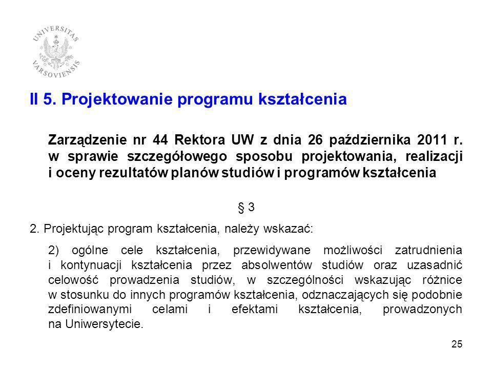 II 5. Projektowanie programu kształcenia Zarządzenie nr 44 Rektora UW z dnia 26 października 2011 r. w sprawie szczegółowego sposobu projektowania, re