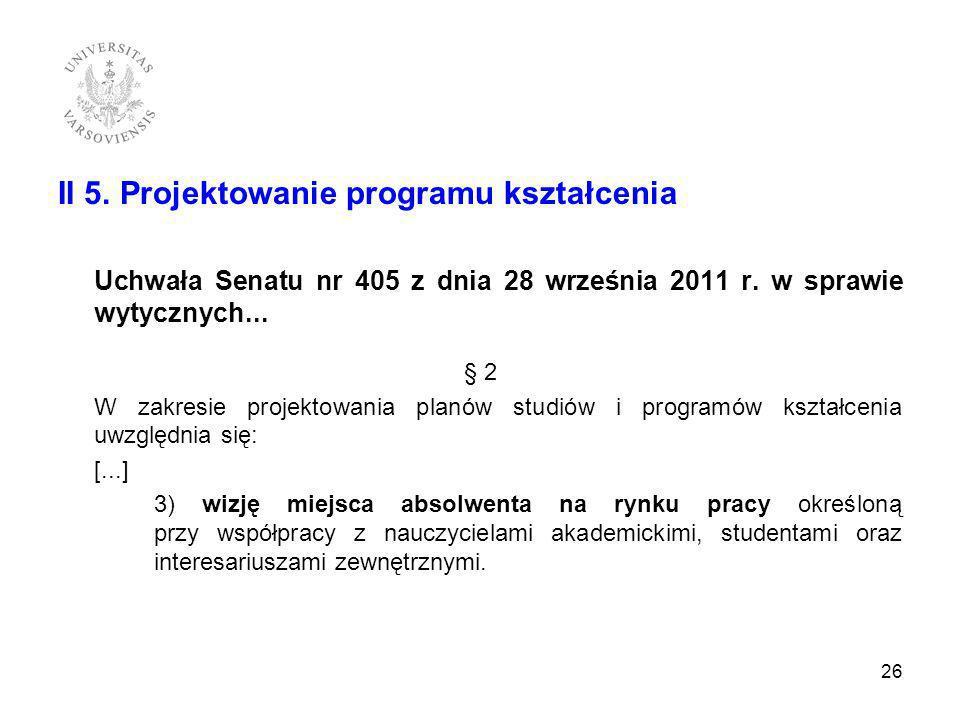 II 5. Projektowanie programu kształcenia Uchwała Senatu nr 405 z dnia 28 września 2011 r. w sprawie wytycznych... § 2 W zakresie projektowania planów