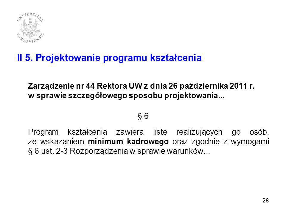 II 5. Projektowanie programu kształcenia Zarządzenie nr 44 Rektora UW z dnia 26 października 2011 r. w sprawie szczegółowego sposobu projektowania...