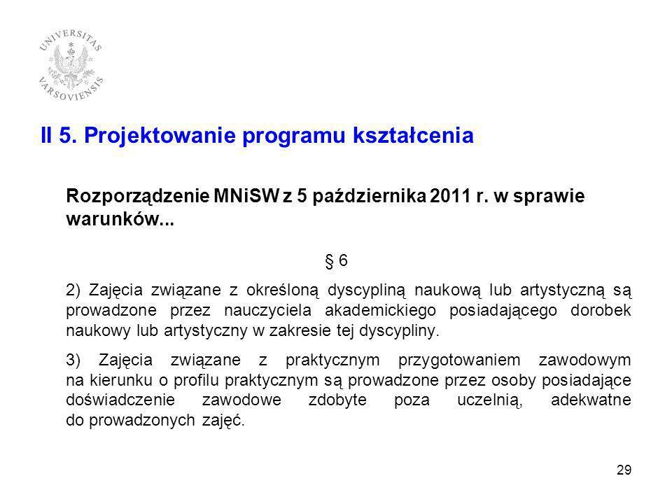 II 5. Projektowanie programu kształcenia Rozporządzenie MNiSW z 5 października 2011 r. w sprawie warunków... § 6 2) Zajęcia związane z określoną dyscy