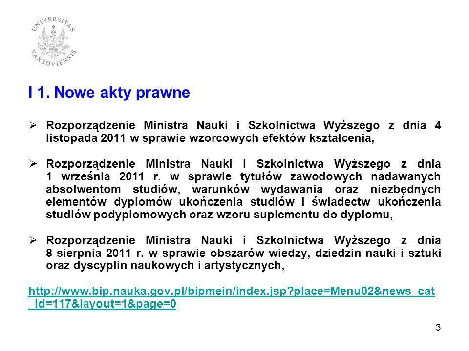 I 1. Nowe akty prawne Rozporządzenie Ministra Nauki i Szkolnictwa Wyższego z dnia 4 listopada 2011 w sprawie wzorcowych efektów kształcenia, Rozporząd