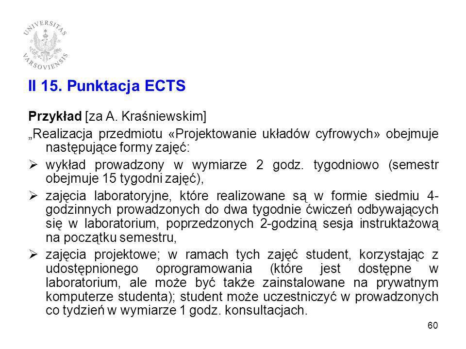 II 15. Punktacja ECTS Przykład [za A. Kraśniewskim] Realizacja przedmiotu «Projektowanie układów cyfrowych» obejmuje następujące formy zajęć: wykład p
