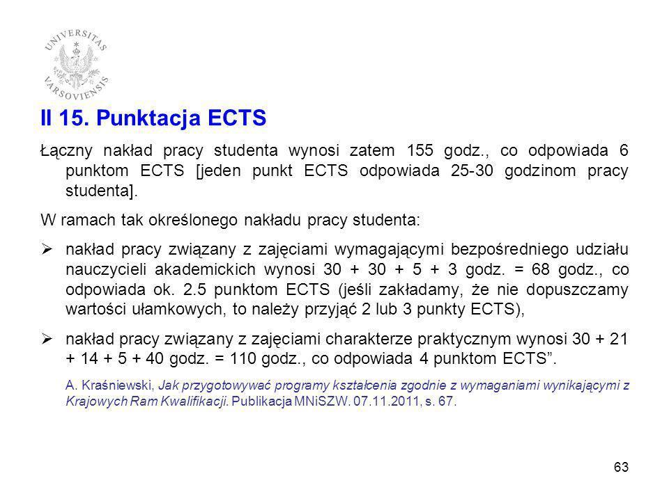 II 15. Punktacja ECTS Łączny nakład pracy studenta wynosi zatem 155 godz., co odpowiada 6 punktom ECTS [jeden punkt ECTS odpowiada 25-30 godzinom prac