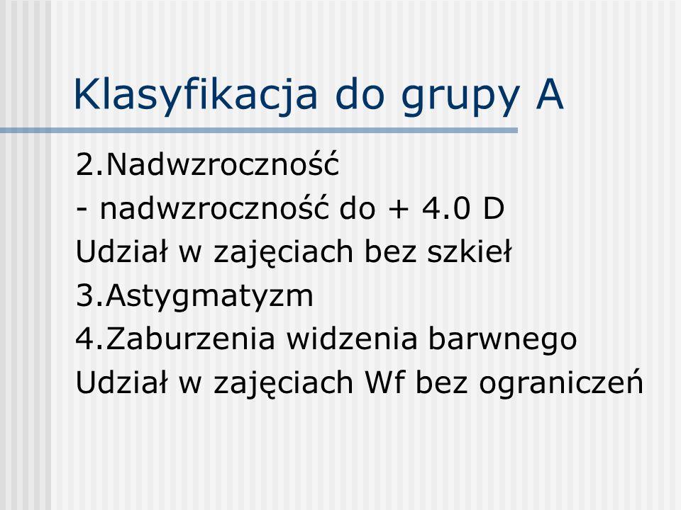 Klasyfikacja do grupy A 2.Nadwzroczność - nadwzroczność do + 4.0 D Udział w zajęciach bez szkieł 3.Astygmatyzm 4.Zaburzenia widzenia barwnego Udział w