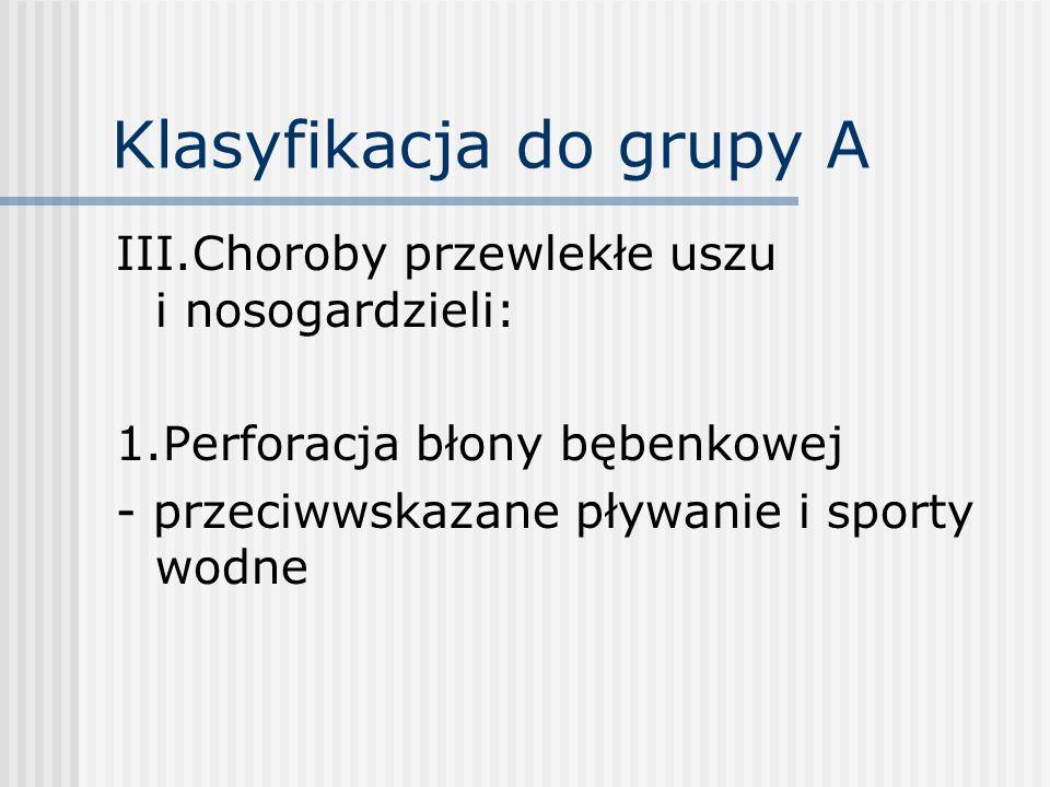 Klasyfikacja do grupy A III.Choroby przewlekłe uszu i nosogardzieli: 1.Perforacja błony bębenkowej - przeciwwskazane pływanie i sporty wodne