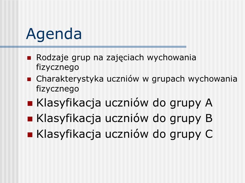 Agenda Rodzaje grup na zajęciach wychowania fizycznego Charakterystyka uczniów w grupach wychowania fizycznego Klasyfikacja uczniów do grupy A Klasyfi