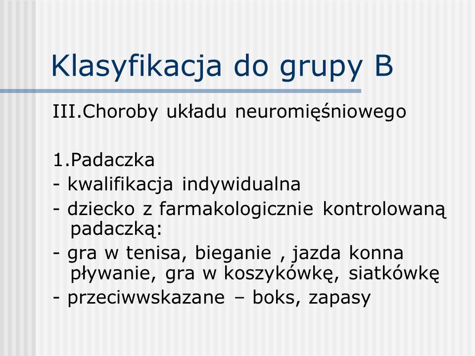 Klasyfikacja do grupy B III.Choroby układu neuromięśniowego 1.Padaczka - kwalifikacja indywidualna - dziecko z farmakologicznie kontrolowaną padaczką: