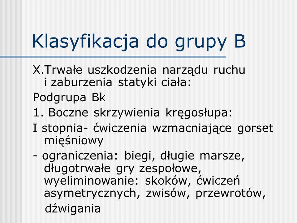 Klasyfikacja do grupy B X.Trwałe uszkodzenia narządu ruchu i zaburzenia statyki ciała: Podgrupa Bk 1. Boczne skrzywienia kręgosłupa: I stopnia- ćwicze