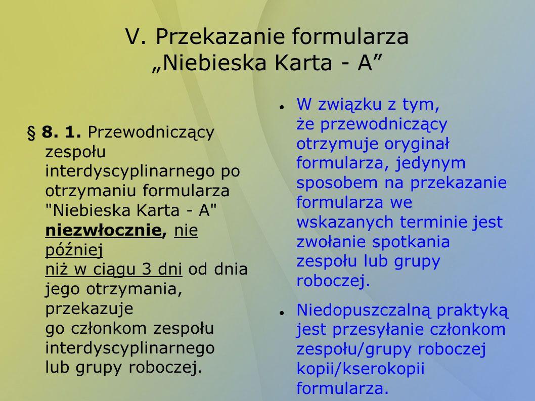 V. Przekazanie formularza Niebieska Karta - A § 8. 1. Przewodniczący zespołu interdyscyplinarnego po otrzymaniu formularza