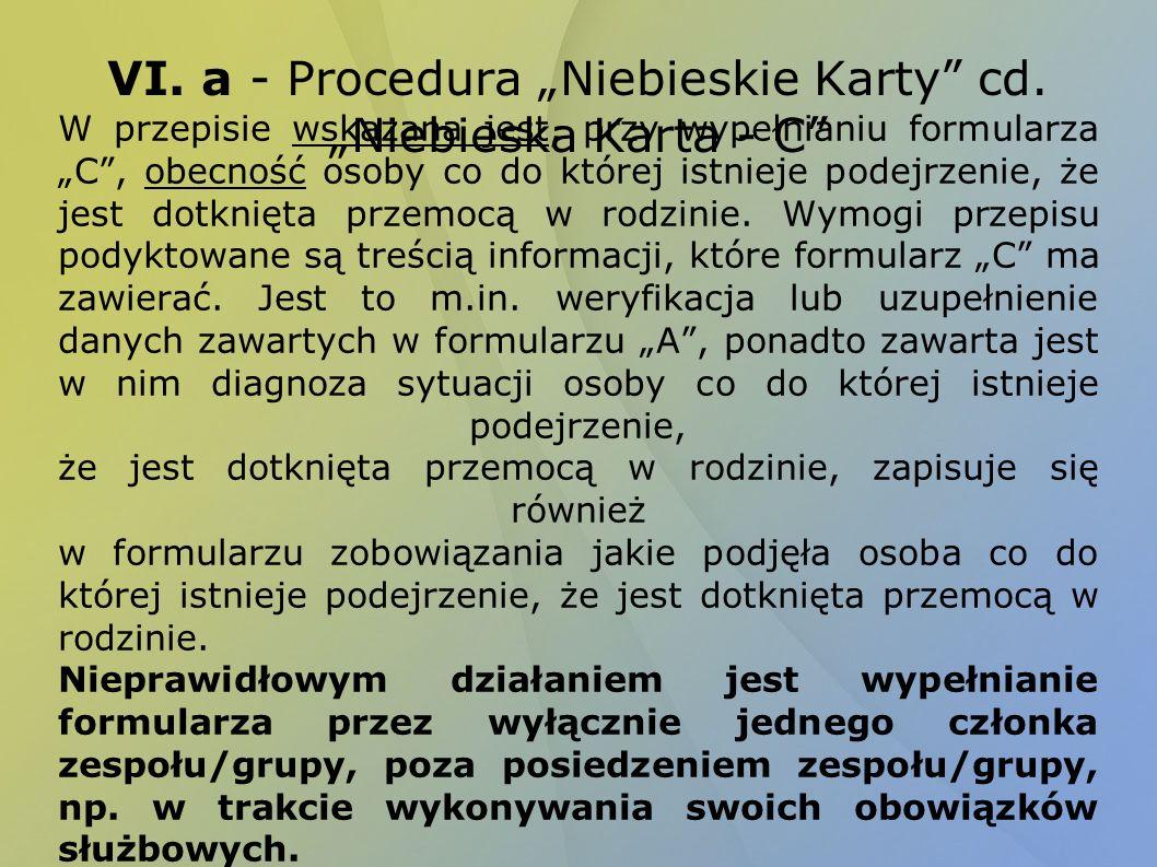 VI. a - Procedura Niebieskie Karty cd. Niebieska Karta - C W przepisie wskazana jest, przy wypełnianiu formularza C, obecność osoby co do której istni