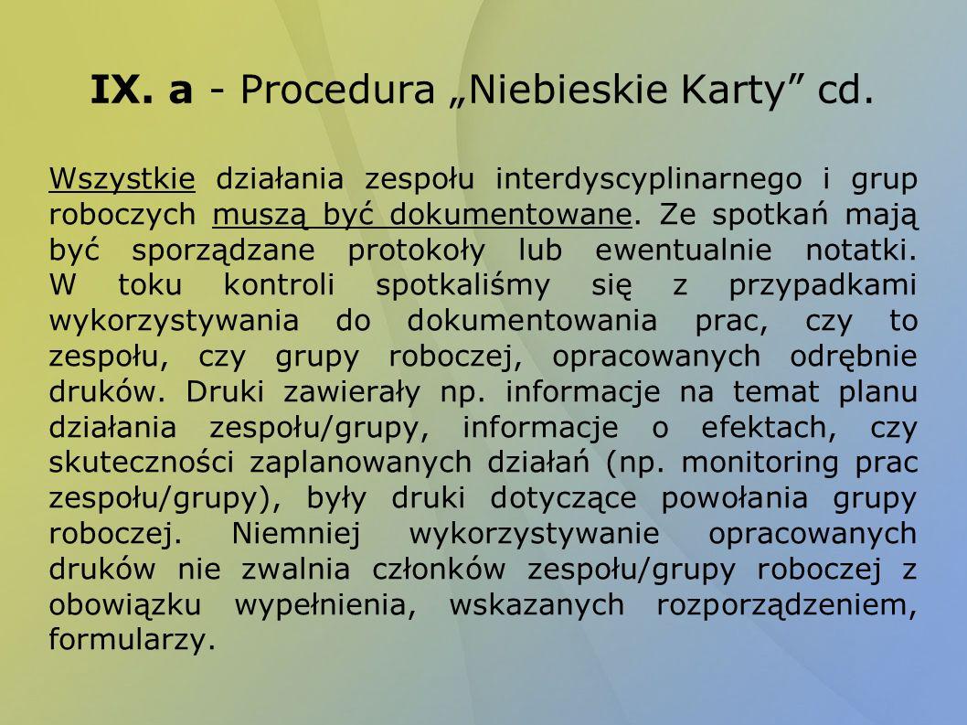 IX. a - Procedura Niebieskie Karty cd. Wszystkie działania zespołu interdyscyplinarnego i grup roboczych muszą być dokumentowane. Ze spotkań mają być