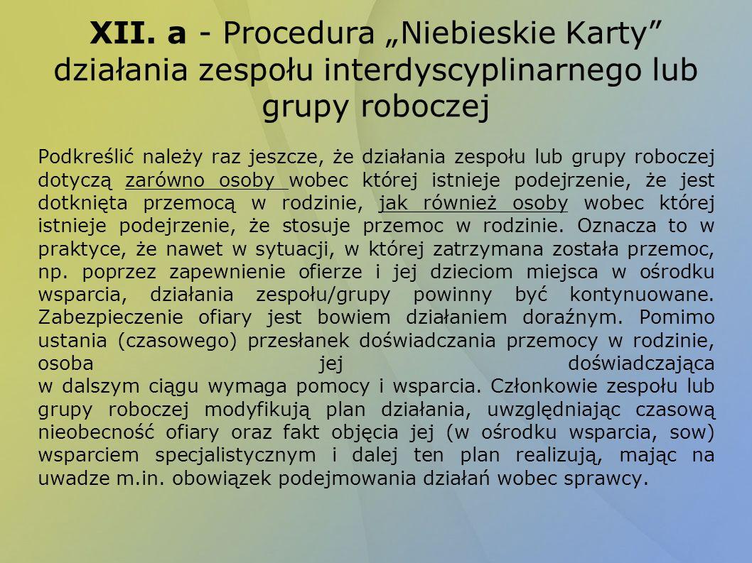 XII. a - Procedura Niebieskie Karty działania zespołu interdyscyplinarnego lub grupy roboczej Podkreślić należy raz jeszcze, że działania zespołu lub