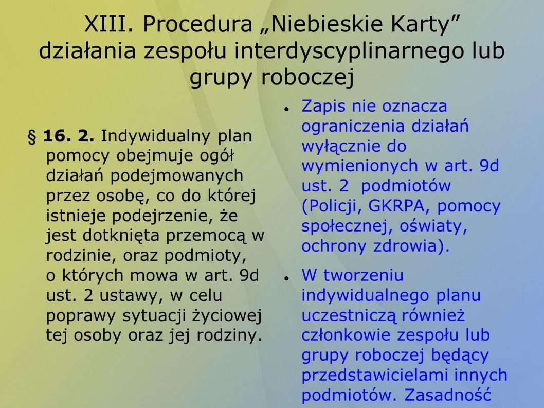 XIII. Procedura Niebieskie Karty działania zespołu interdyscyplinarnego lub grupy roboczej § 16. 2. Indywidualny plan pomocy obejmuje ogół działań pod