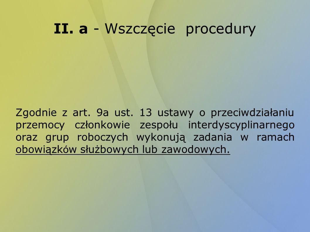 II. a - Wszczęcie procedury Zgodnie z art. 9a ust. 13 ustawy o przeciwdziałaniu przemocy członkowie zespołu interdyscyplinarnego oraz grup roboczych w