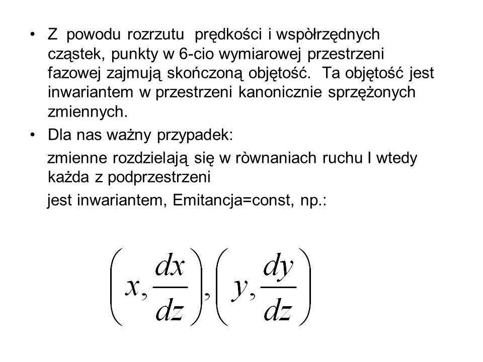 Z powodu rozrzutu prędkości i wspòłrzędnych cząstek, punkty w 6-cio wymiarowej przestrzeni fazowej zajmują skończoną objętość. Ta objętość jest inwari