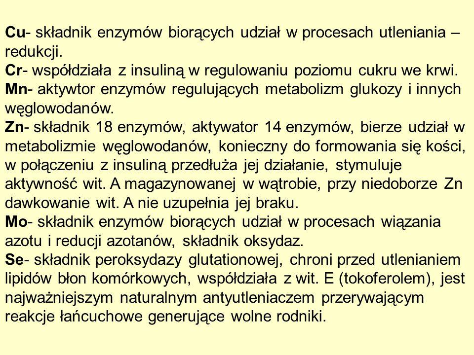 Cu- składnik enzymów biorących udział w procesach utleniania – redukcji. Cr- współdziała z insuliną w regulowaniu poziomu cukru we krwi. Mn- aktywtor