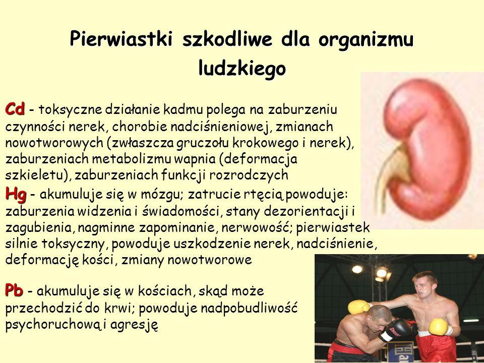 Pierwiastki szkodliwe dla organizmu ludzkiego Cd Cd - toksyczne działanie kadmu polega na zaburzeniu czynności nerek, chorobie nadciśnieniowej, zmiana