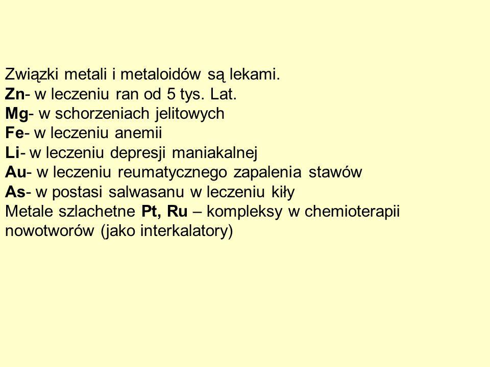 Związki metali i metaloidów są lekami. Zn- w leczeniu ran od 5 tys. Lat. Mg- w schorzeniach jelitowych Fe- w leczeniu anemii Li- w leczeniu depresji m