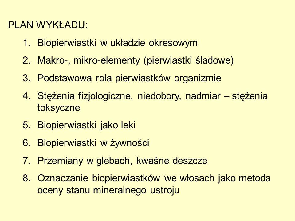 PLAN WYKŁADU: 1.Biopierwiastki w układzie okresowym 2.Makro-, mikro-elementy (pierwiastki śladowe) 3.Podstawowa rola pierwiastków organizmie 4.Stężeni