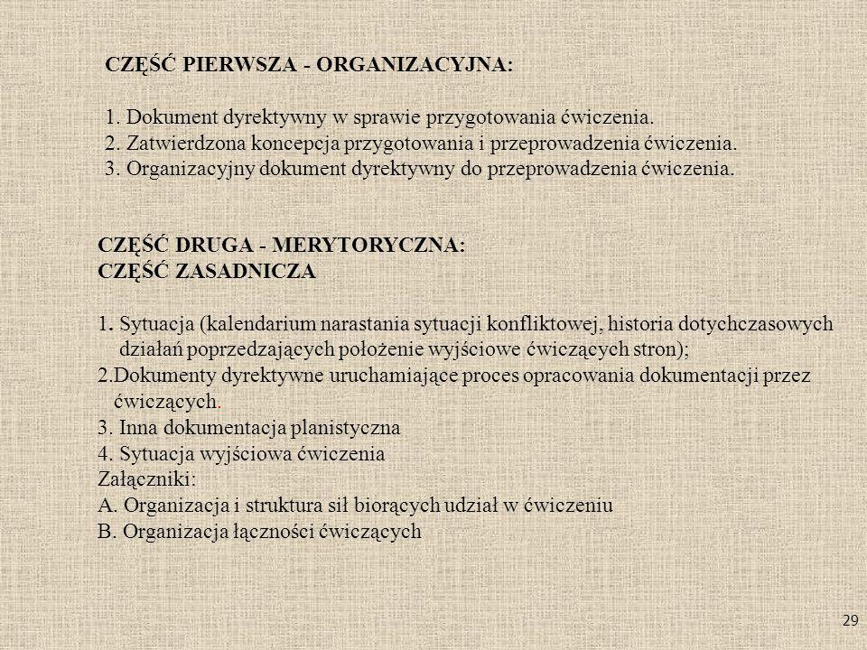 29 CZĘŚĆ PIERWSZA - ORGANIZACYJNA: 1. Dokument dyrektywny w sprawie przygotowania ćwiczenia. 2. Zatwierdzona koncepcja przygotowania i przeprowadzenia
