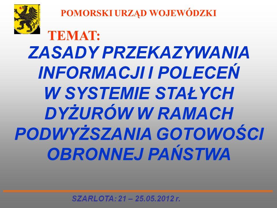 TEMAT: ZASADY PRZEKAZYWANIA INFORMACJI I POLECEŃ W SYSTEMIE STAŁYCH DYŻURÓW W RAMACH PODWYŻSZANIA GOTOWOŚCI OBRONNEJ PAŃSTWA SZARLOTA: 21 – 25.05.2012
