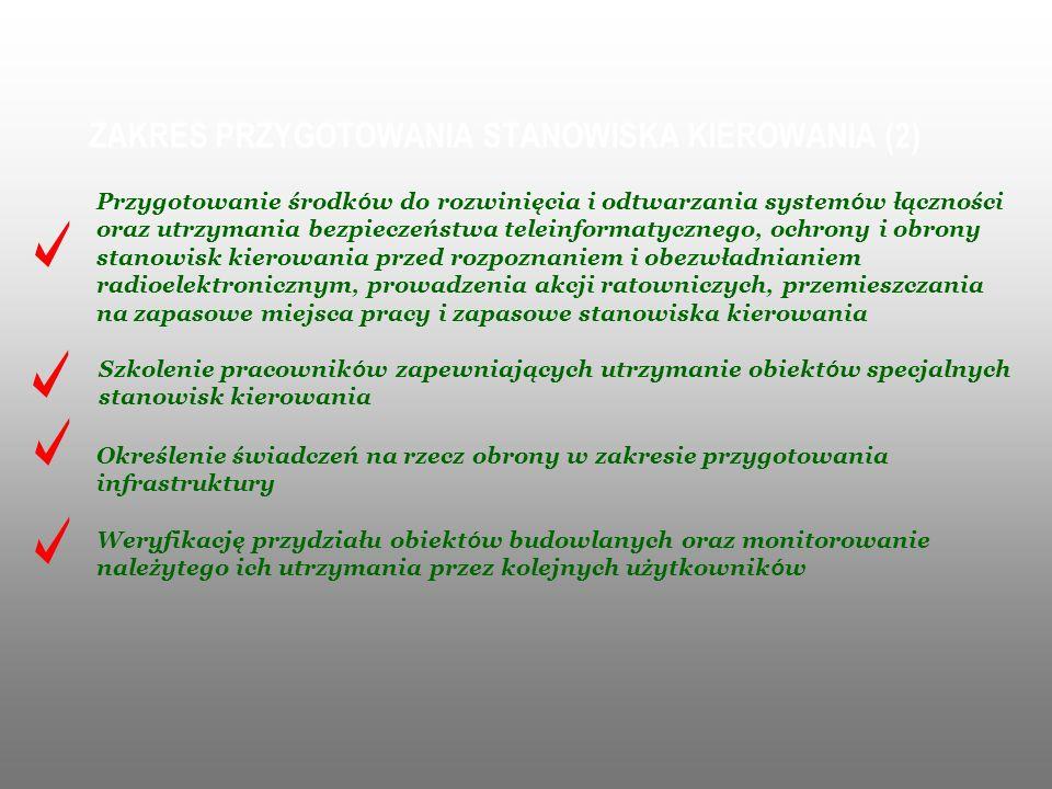 ZAKRES PRZYGOTOWANIA STANOWISKA KIEROWANIA (2) Przygotowanie środk ó w do rozwinięcia i odtwarzania system ó w łączności oraz utrzymania bezpieczeństw